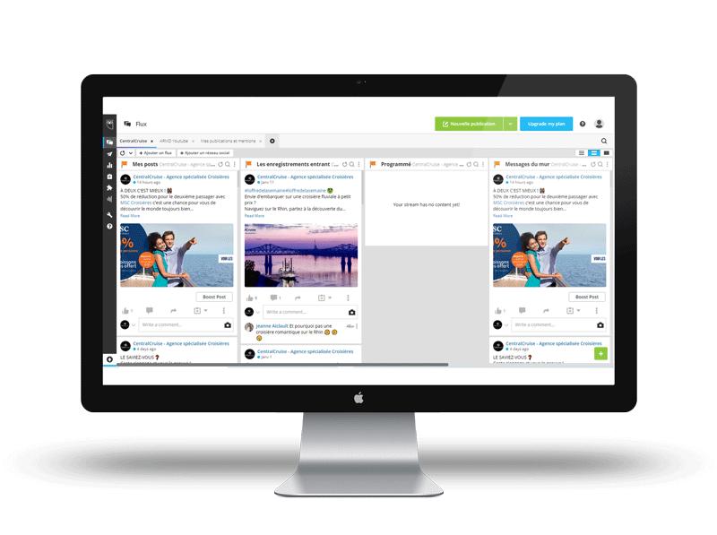 Ayez un aperçu global de vos réseaux sociaux sur Hootsuite, et déterminez votre plateforme préférée entre Hootsuite VS Buffer !