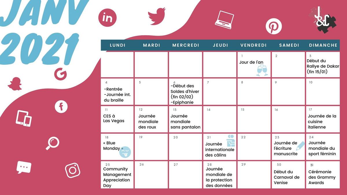 Découvrez tous les événements du mois de février grâce à votre calendrier marronnier janvier 2021 !