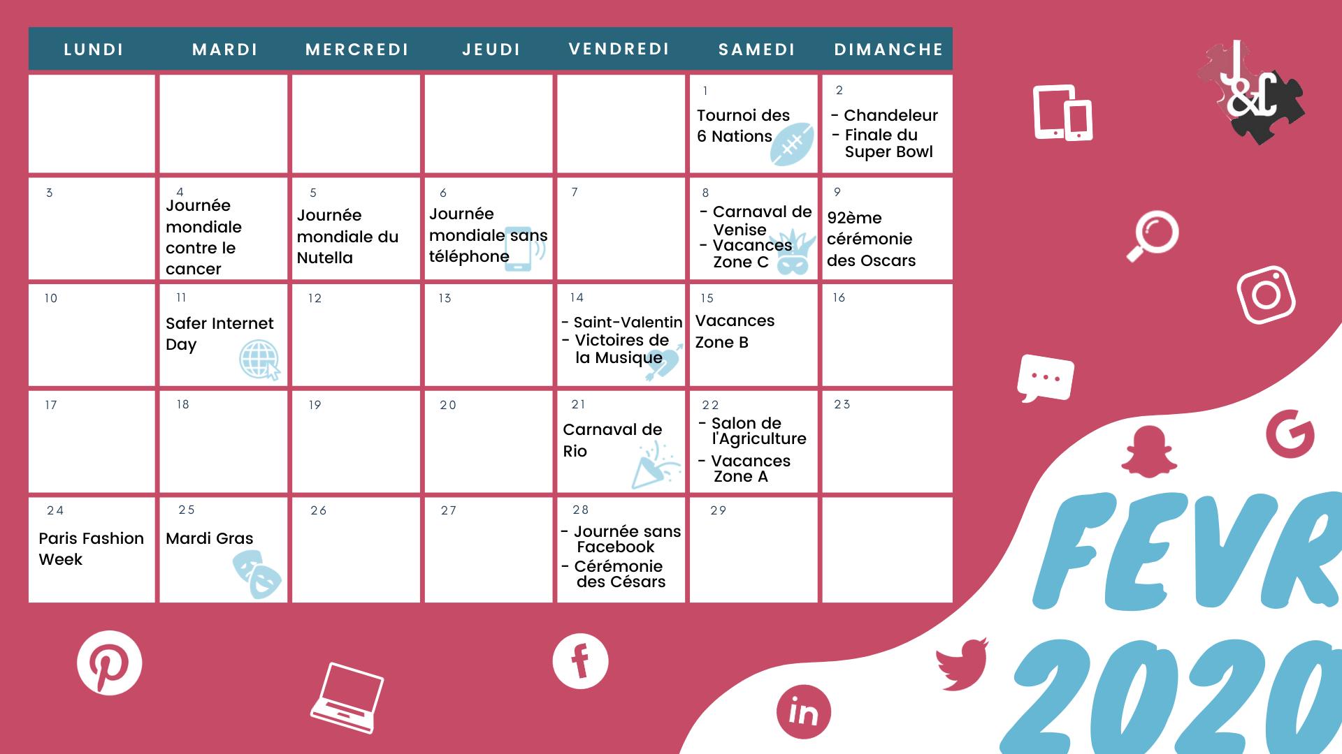 Retrouvez tous les événements du mois de février grâce à votre calendrier marketing 2020 !