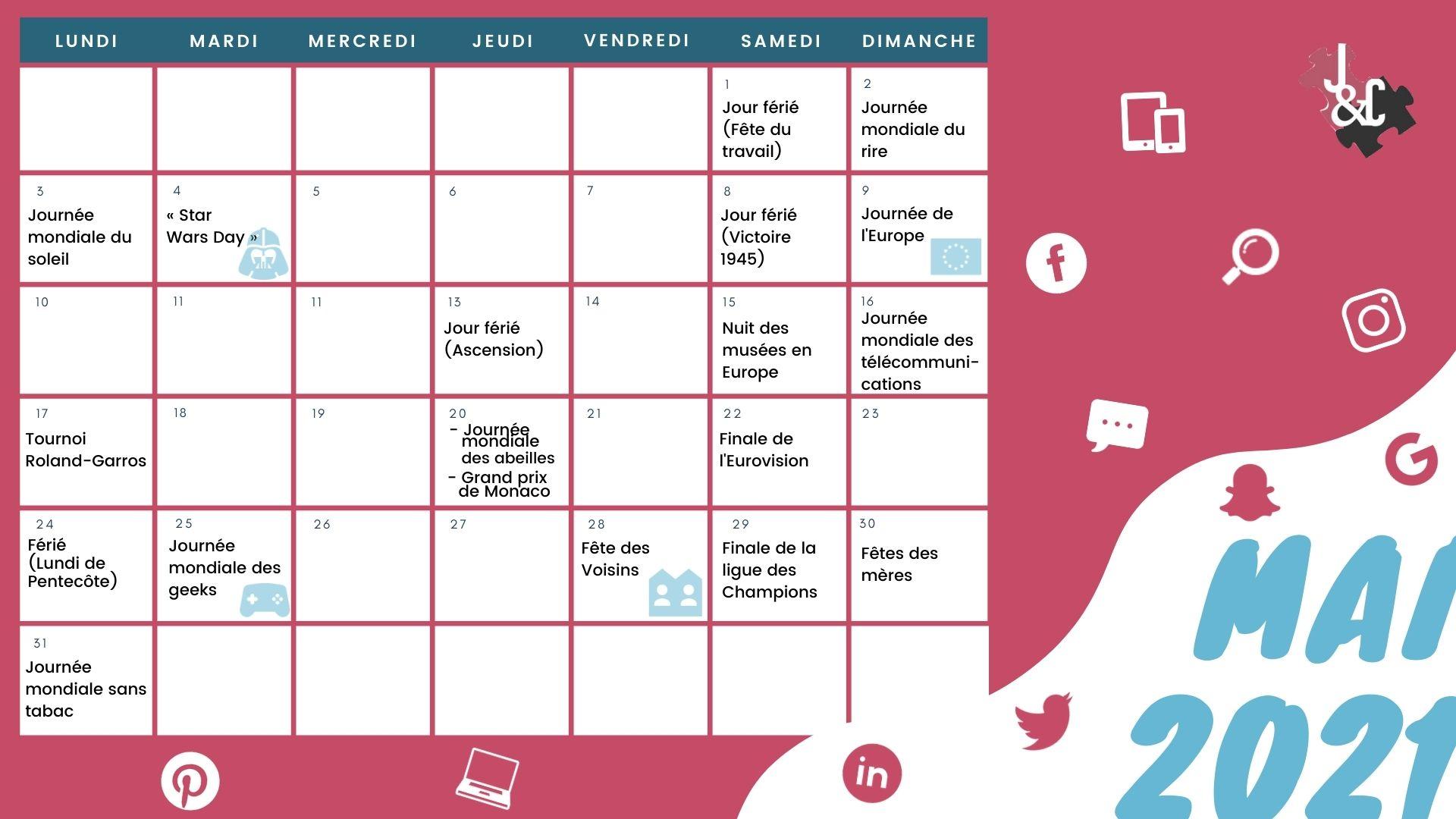Découvrez l'intégralité des événements majeurs de mai grâce à votre calendrier marronnier mai 2021 !