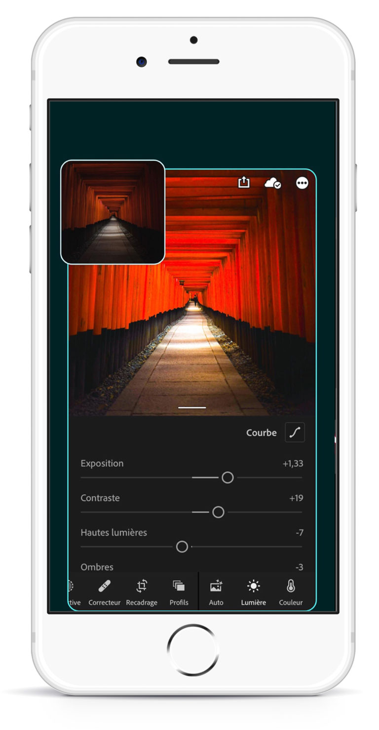 Applications pour feed Instagram : lightroom pour retoucher vos photos