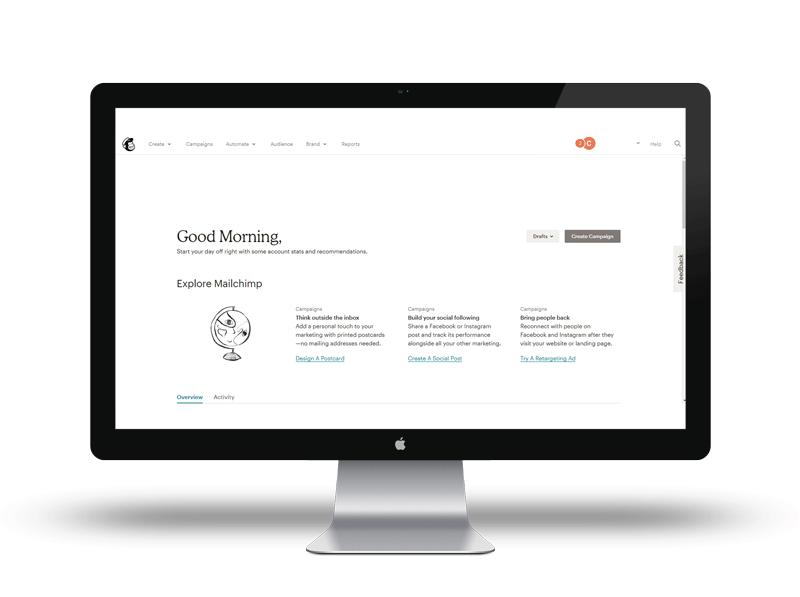 L'interface du site est idéale pour créer une newsletter avec MailChimp
