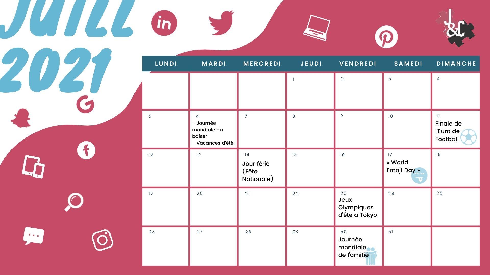 Retrouvez tous les événements du mois de juin grâce à votre calendrier marronnier juillet 2021 !