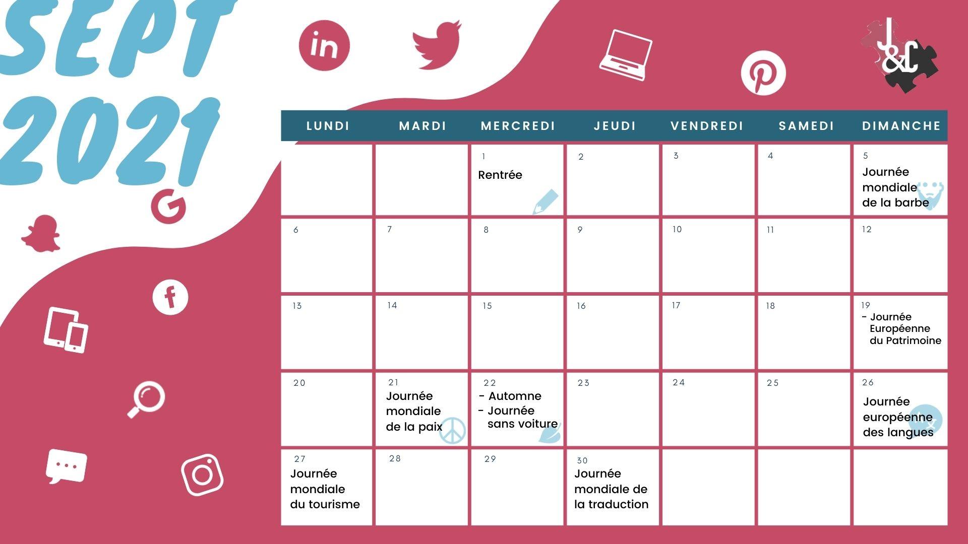 Retrouvez tous les événements du mois de septembre grâce à votre calendrier marketing 2021 !