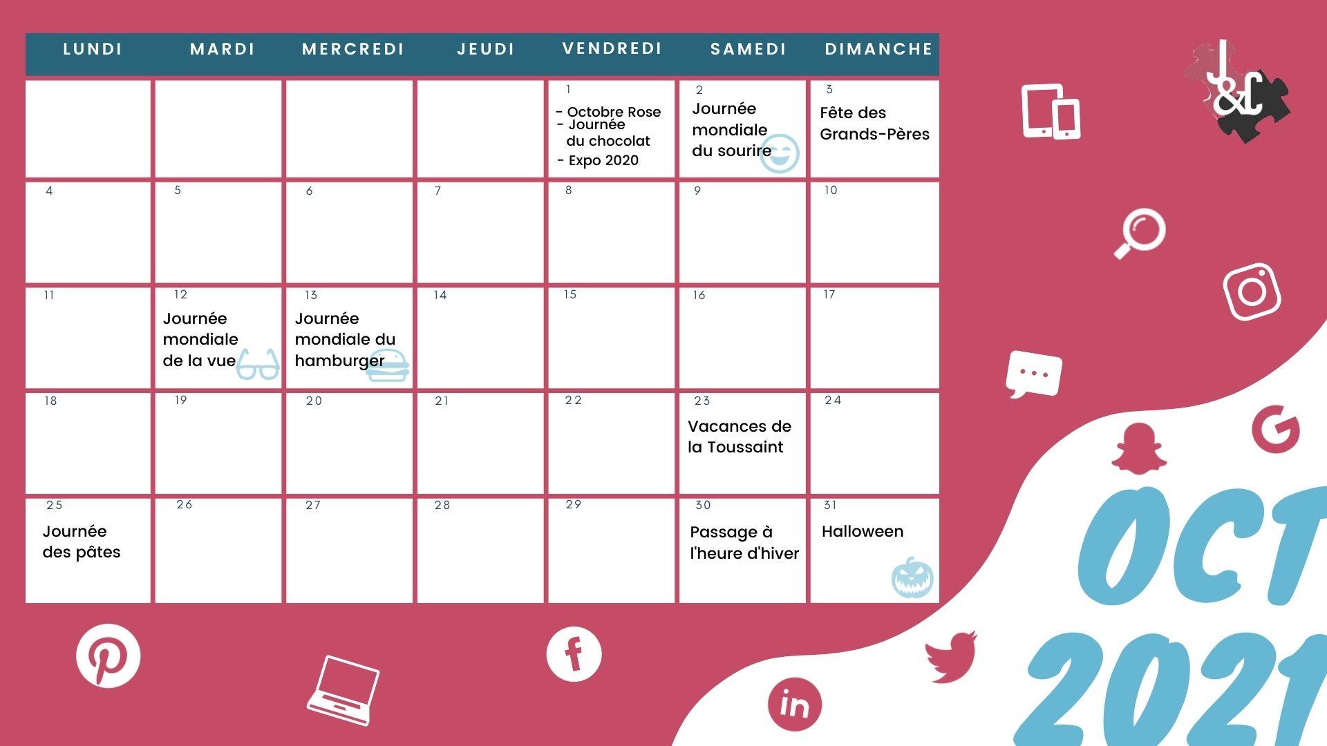 Retrouvez tous les événements du mois grâce à votre calendrier marronnier octobre 2021 !