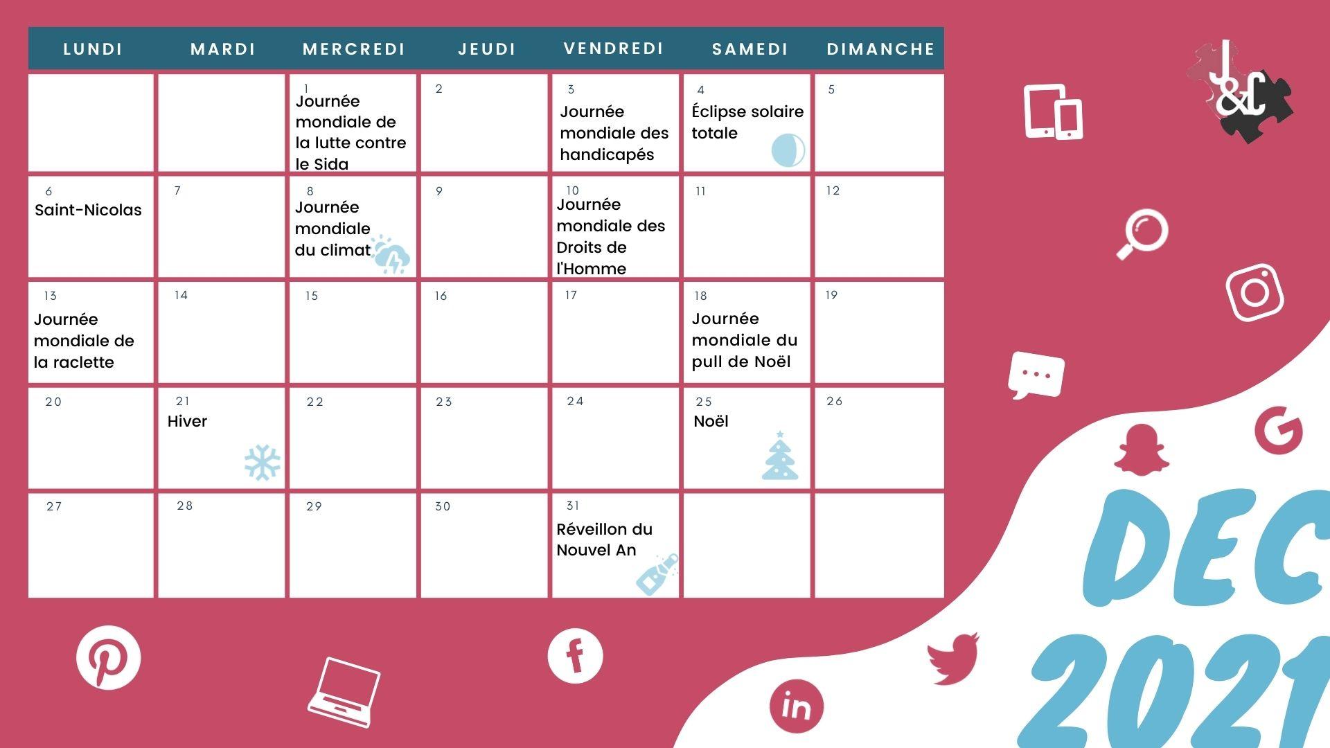 Retrouvez tous les événements clés du mois de décembre grâce à votre calendrier marronnier décembre 2021 !