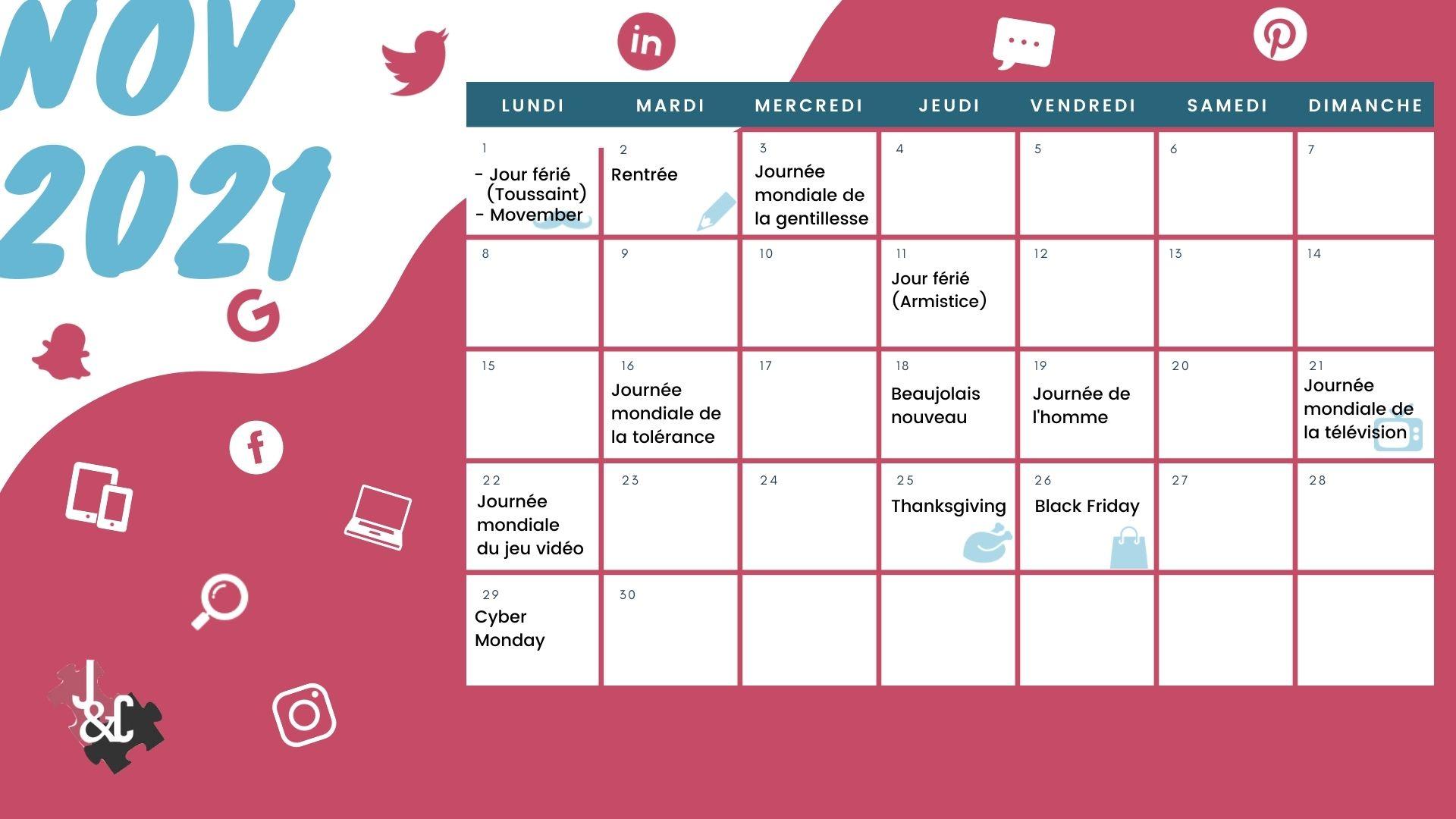 Découvrez tous les événement du mois grâce à votre calendrier marronnier novembre 2021 !